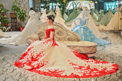 luxury off the shoulder red flowers Red Carpet Gown with train