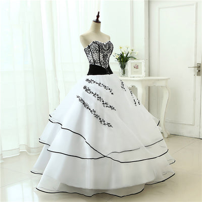 CG85 Vintage white black A line Wedding Dresses