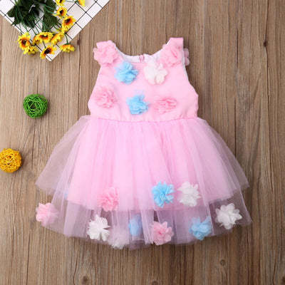 FG130 Pink 3D Flowers Princess Dress