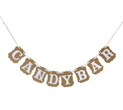 Candy Bar Kraft Paper Banner For DIY Wedding & Party Decor