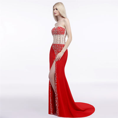 Sexy High Split Red Evening Gown
