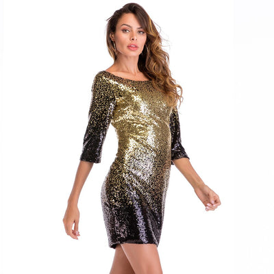 MX25 Black Gold Sequin Party Club Dress