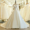 CW148 Long Sleeves A Line Wedding Gown with Chapel train