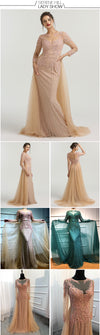 High-end Muslim Beaded Bridesmaid Dresses (Pink/Green)