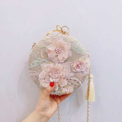 CB85 Luxurious embroidery flower tassel Prom clutch bag