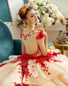 CG74 Elegant 3D flowers beaded wedding Gown with long court train