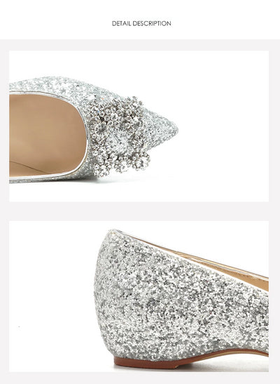 BS04 Blink Blink Silver Sequins  Wedding Flats
