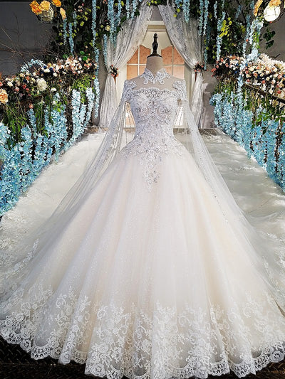HW35 Luxury high neck wedding gowns with long cape and train