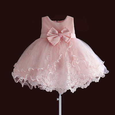 FG119 Lace big bow Christening Dresses (Pink/White)