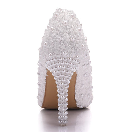 BS18 Lace pearl Bridal Heels (White/Pink)