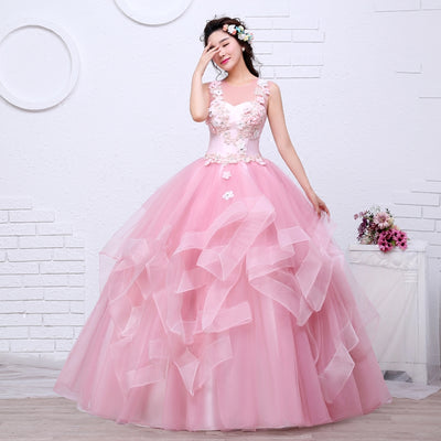 CG10 Pink Appliques Wedding Dress
