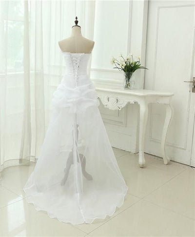 SS05 Strapless beaded Front Short Back Long  Wedding Dress