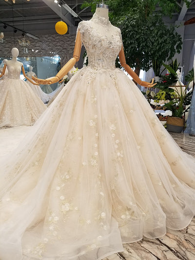 Elegant high neck beading open back wedding gown with train