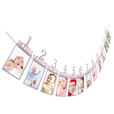 Photo folder Kids Birthday Gift Decorations 1-12 Month Photo Banner Monthly Photo Wall