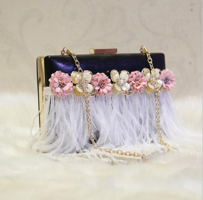 CB64 Handmade flowers with feathers Prom clutch bags (White/Black)