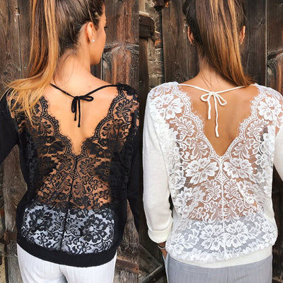 TJ23 Summer Long Sleeve  Lace  Blouses