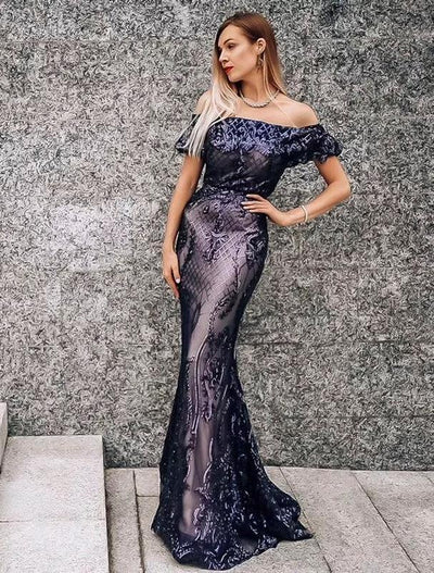 Luxurious Off the shoulder Sequined Mermaid  Evening Dresses(2 Colors)