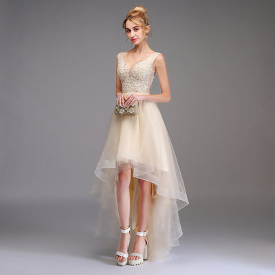 BH15 V-neck Backless Champagne Lace Hi Low Homecoming Dress