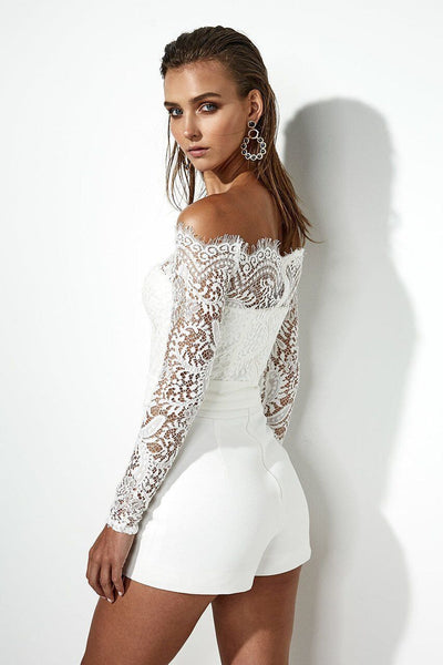 JR01 Slash neck Lace Strapless  Jumpsuit