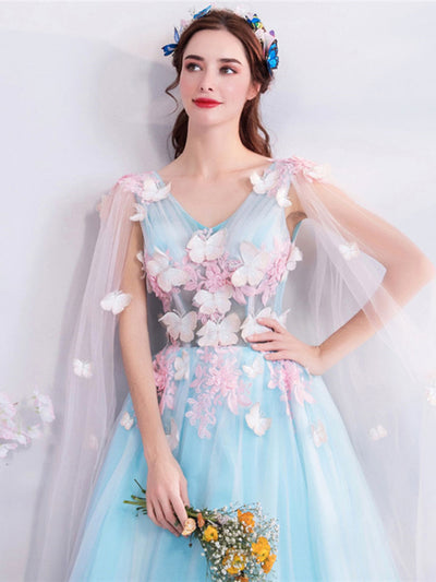 BH146 Tulle Blue 3D flower Homecoming  Dresses