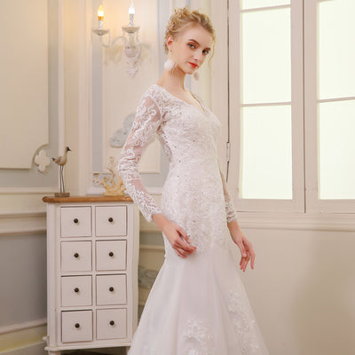 CW73 V-neck Backless Mermaid Wedding Gown