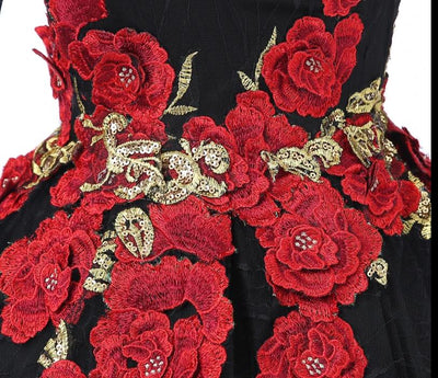 CG02 Black Flowers  Sleeve Ball Gown