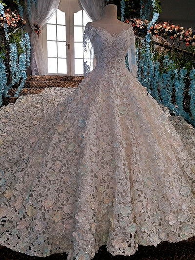 Luxury long sleeve 3d flower crystals beaded wedding dress with court train
