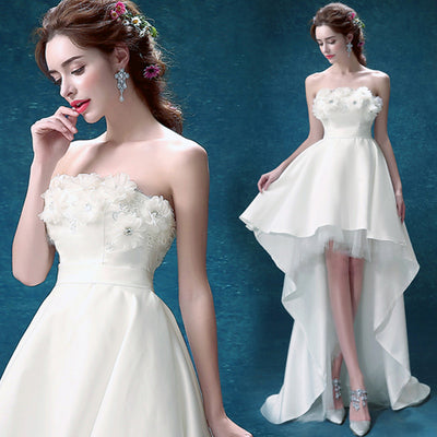 SS03 Flower Short Front Long Back Wedding Dresses