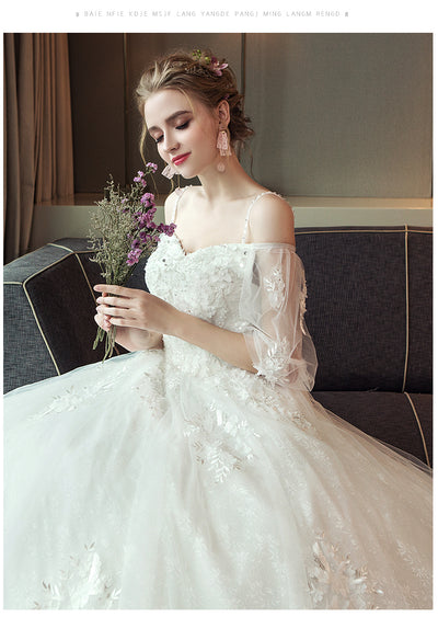 CW145 simple half lantern sleeve  wedding dress