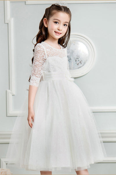 FG103 Lovely Half Sleeve Lace  Flower Girl Dresses (5 Colors)