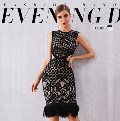 MX54 Summer Black Lace with Feather Celebrity Dress