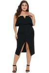 MX126 Plus Size Spaghetti Strap Slit Front Party Dresses( Black/White)