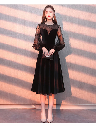 BH157 Long Sleeves Tulle A Line Velour homecoming Dress