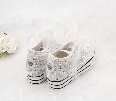 BS87 Full Pearls Glued Wedding Sneakers