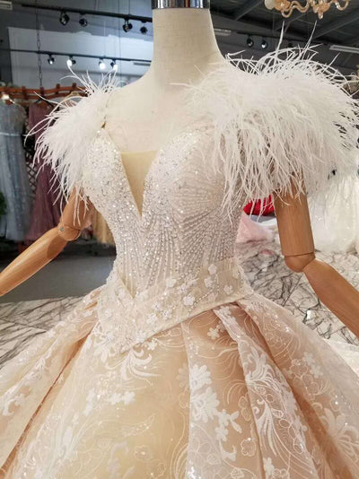Handmade new design Ostrich feather shiny wedding gowns with sashes