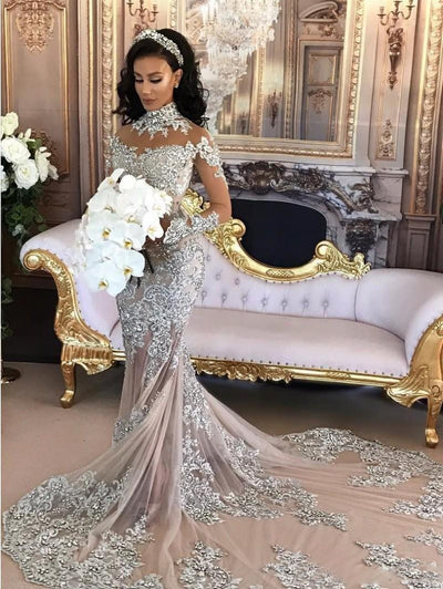 CW161 Long Sleeves High Neck Mermaid Wedding Dress with  Train