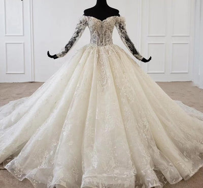 Long sleeves off shoulder lace Bridal Gown