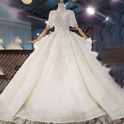 Real Photo : Luxury high neck short sleeves beaded Wedding Gowns