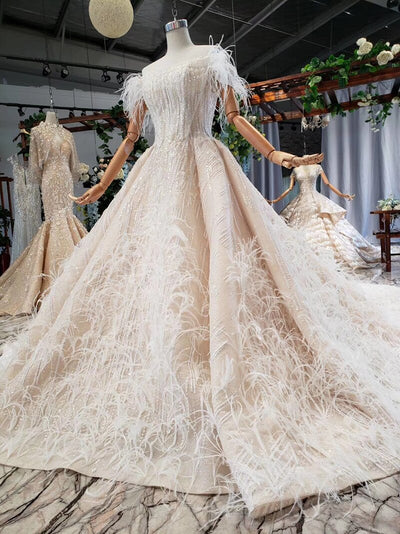 Glamorous off shoulder sequins with feather wedding Gowns