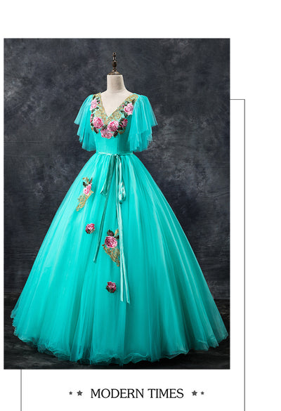 CG128 Green embroidery Quinceanera dress