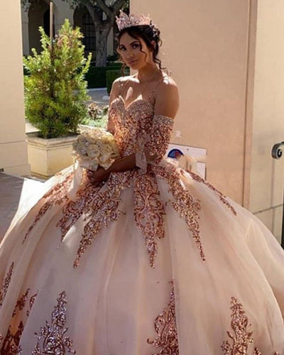 CG194 Sparkly Quinceanera Dress with Detachable Sleeves