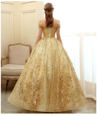CG159 Real Photo Gold Quinceanera Dress
