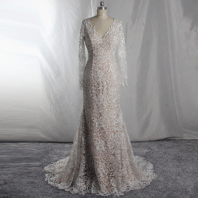Real Photo full lace mermaid wedding dress with train 30 cm