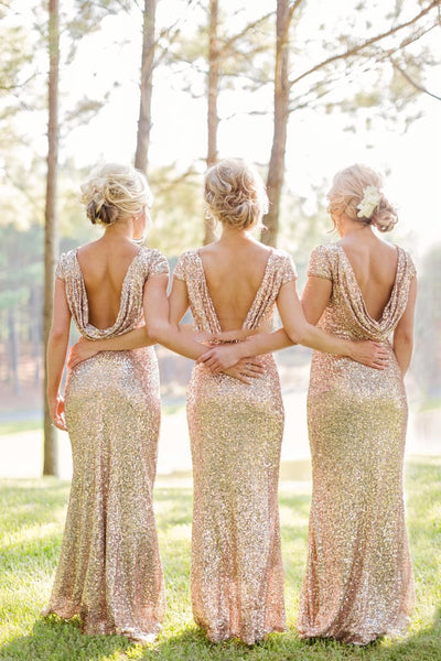 PP89 Plus size Rose Gold Sequin Evening Gowns