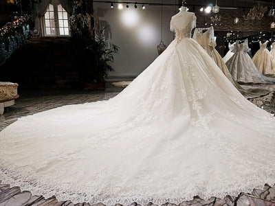 HW49-1 Luxury new unique design Wedding Gown with long train