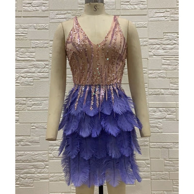 MX255 Spaghetti strap sequin Feathers Cocktail Dresses (2 Colors)