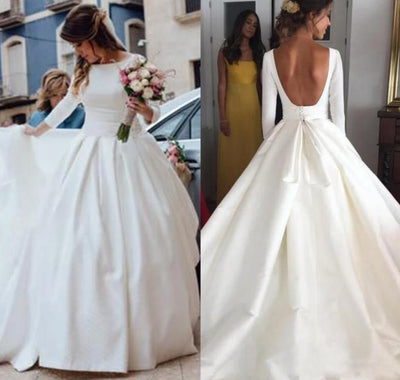 CW16 Simple 3/4 Sleeves satin Wedding dress with open back