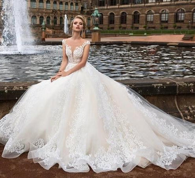 High-end Wedding Dresses With Embroidery Lace Illusion Neck