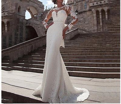 Long Sleeves Lace Appliques Beach  Bridal Dress
