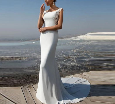 CW223 Minimalist soft satin mermaid Wedding Dress